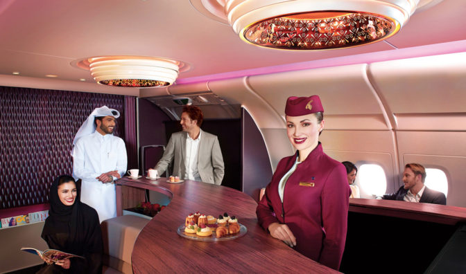 bar a bordo de qatar airways