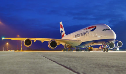 british airways airbus a380 at night