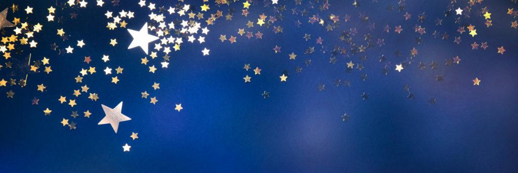estrellas doradas sobre fondo azul