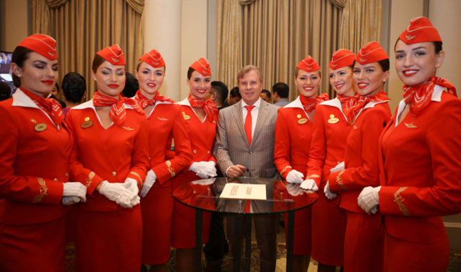 aeroflot president and staff before the awards